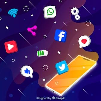 Téléphone mobile anti-gravité avec des icônes