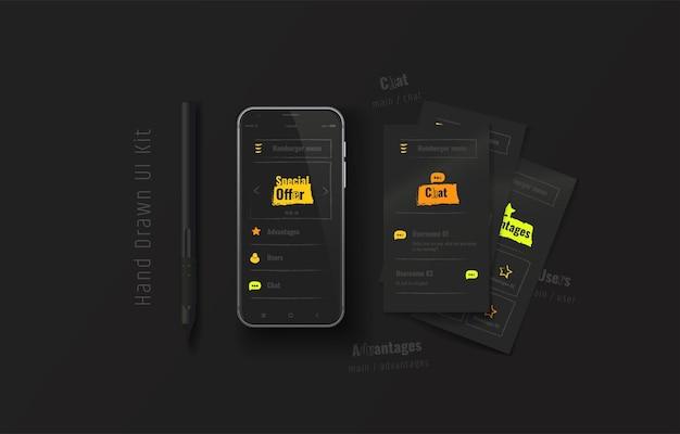 Téléphone mobile avec application web kit d'interface utilisateur ux dessiné à la main expérience utilisateur