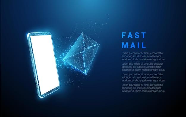 Téléphone mobile bleu abstrait avec lettre volante. recevoir des e-mails. conception de style low poly. fond géométrique structure de connexion lumière filaire concept moderne isolé