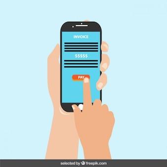 Téléphone mobile avec le bouton de rémunération sur l'écran