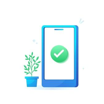 Téléphone mobile avec coche et concept de confirmation