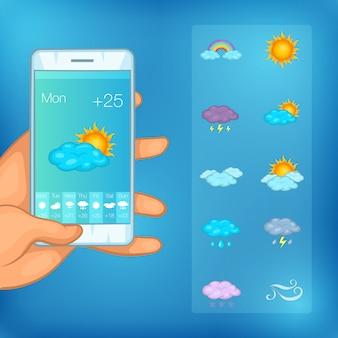 Téléphone mobile concept symboles météo, style de bande dessinée
