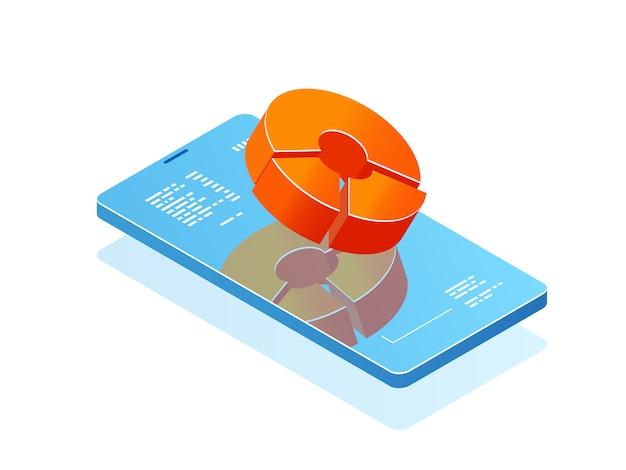 Téléphone mobile avec diagramme à barres à l'écran, application d'analyse, bannière avec smartphone