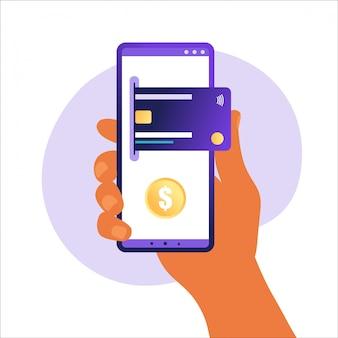 Téléphone mobile avec icône de carte de crédit sur l'écran tactile