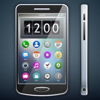 Téléphone mobile avec icônes, original de smartphone