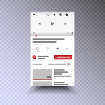 Téléphone mobile d'interface d'application de canal vidéo. des médias sociaux . abonnez-vous.