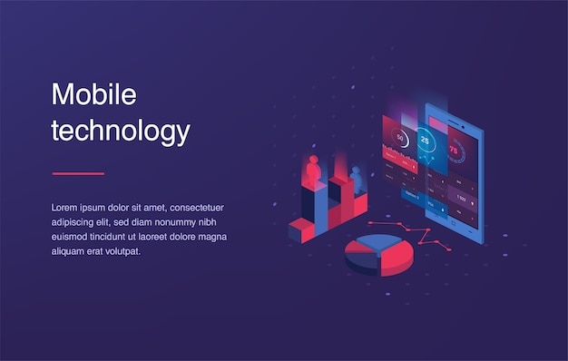 Téléphone mobile isométrique. interface web intelligente et simple avec différentes applications et icônes