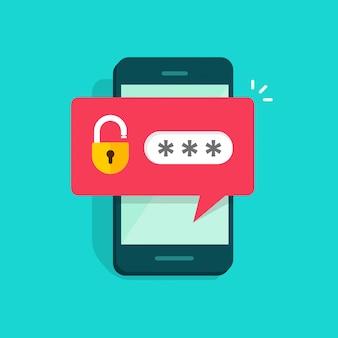 Téléphone mobile ou smartphone déverrouillé de bande dessinée plat notification champ et mot de passe de vecteur
