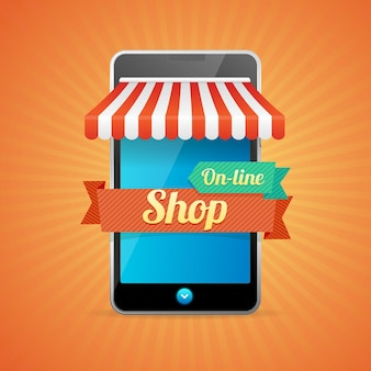 Téléphone mobile store en ligne isolé sur fond orange.