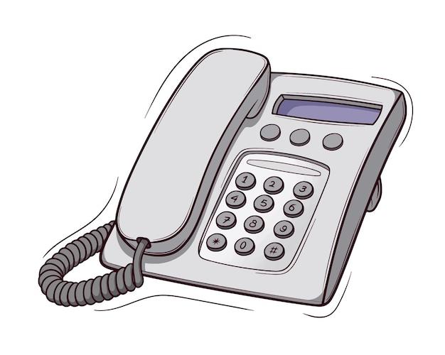 Téléphone par câble dessiné main isolé sur blanc