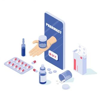 Téléphone et pilules en ligne, capsules blisters, bouteilles en verre, tubes en plastique.