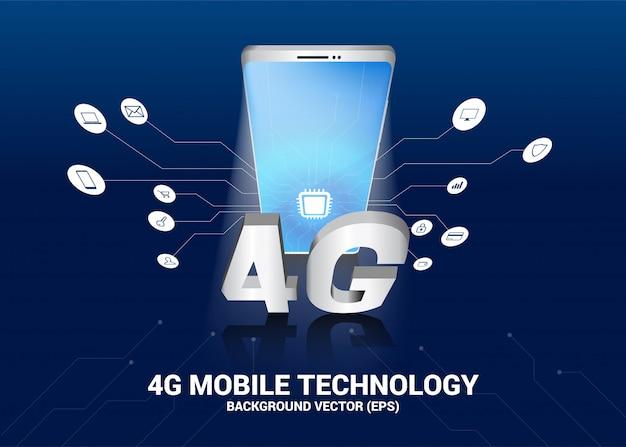 Téléphone portable 3d avec 4g et icône de fonction.