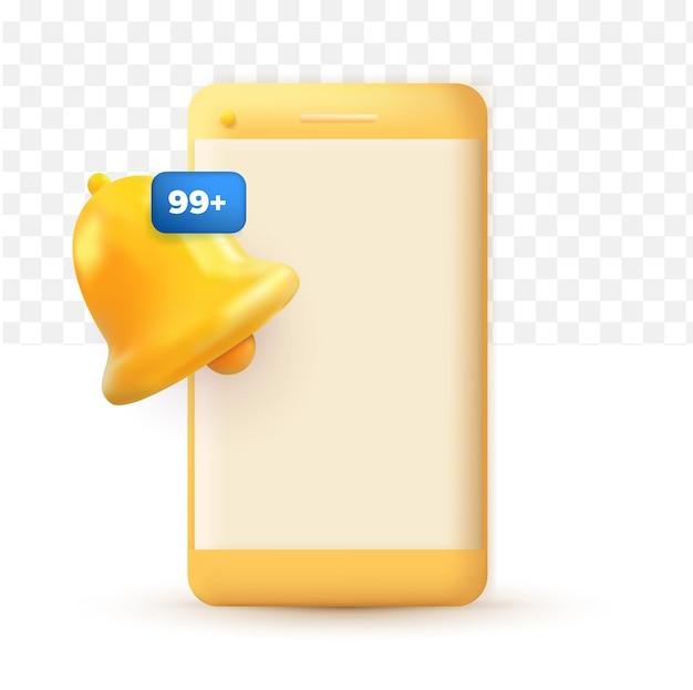 Téléphone portable avec alerte et alarme d'icône mignonne de cloche de message de notification sur le fond transparent