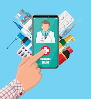 Téléphone portable avec application d'achat de pharmacie sur internet. pilules et bouteilles, médecine en ligne. assistance médicale, aide, support en ligne. application de soins de santé sur smartphone. illustration vectorielle dans un style plat