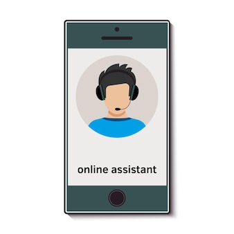 Téléphone portable avec assistant en ligne qui conseille. illustration vectorielle