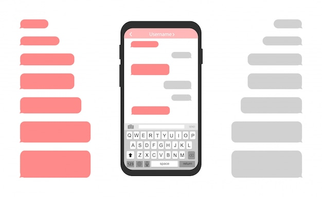 Téléphone portable avec des bulles de message.