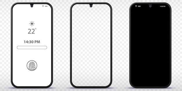 Téléphone portable avec écran noir transparent et verrouillé