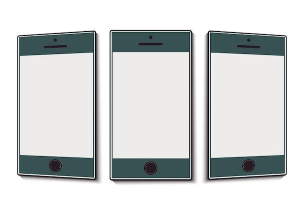 Téléphone portable avec un écran propre sous différents angles. illustration vectorielle
