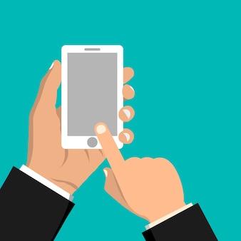 Téléphone portable à la main. main tenant le smartphone. design plat