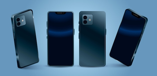 Téléphone portable réaliste dans différentes perspectives