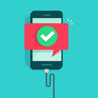 Téléphone portable ou téléphone connecté avec dessin animé plat de chargeur de fil vector illustration