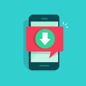 Téléphone portable ou téléphone portable avec téléchargement de notification de discours bulle