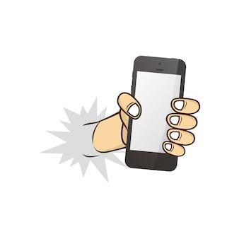 Téléphone portable tenant la main