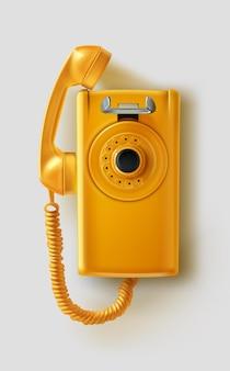 Téléphone public jaune réaliste rétro des années 80