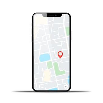 Téléphone réaliste avec carte gps sur fond blanc