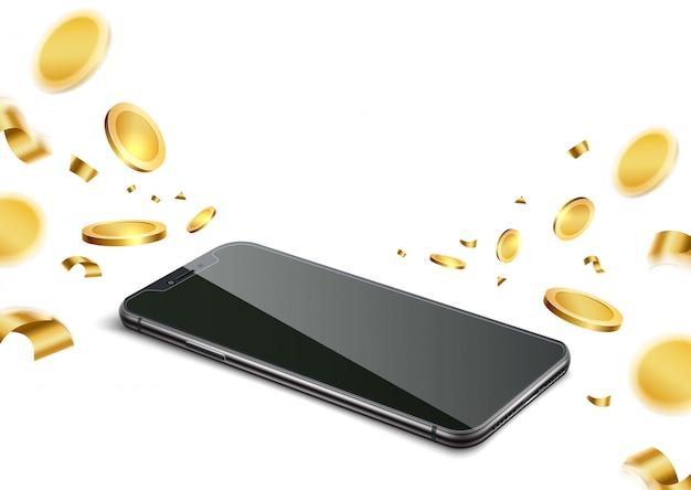 Téléphone réaliste avec des pièces d'or pour la conception de jeux de hasard