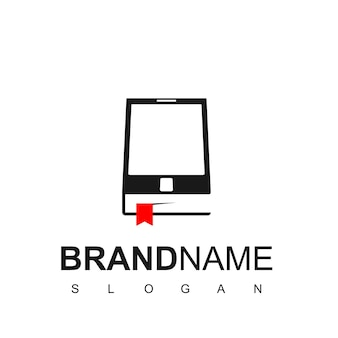 Téléphone et réservez pour le logo d'apprentissage en ligne