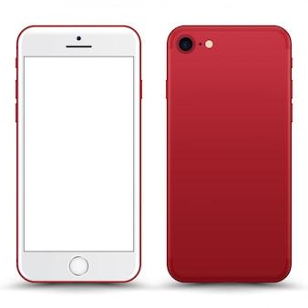 Téléphone rouge avec écran blanc isolé.