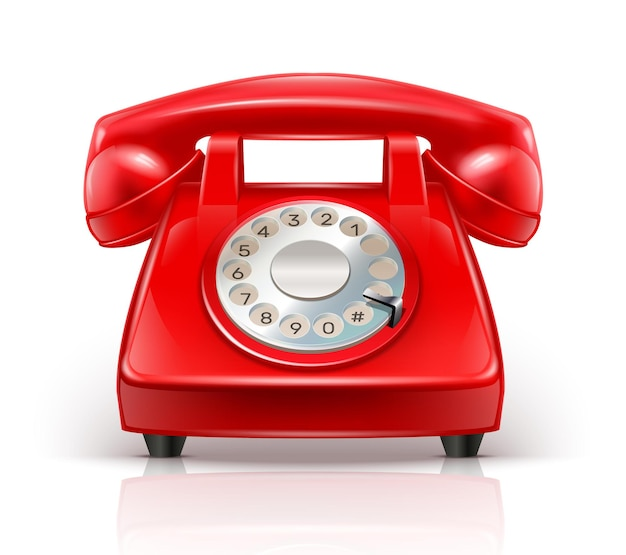 Téléphone rouge réaliste isolé sur blanc