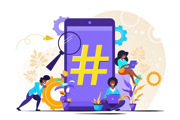 Téléphone avec signe hashtag, personnes et réseaux sociaux.
