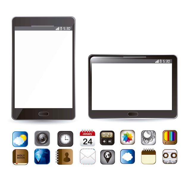 Téléphone et tablette avec des icônes d'applications vector illustration