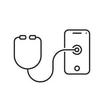 Téléphone de test de stéthoscope à ligne mince. concept de conseil, réaménagement, contrôle, premiers secours, expert, test, traitement, assistance téléphonique, médecine. illustration vectorielle de style plat logotype moderne design sur fond blanc