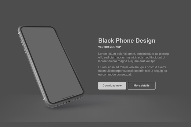 Téléphone de vecteur noir isolé sur fond sombre