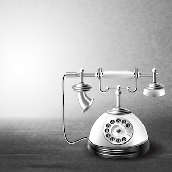 Téléphone vieux noir et blanc