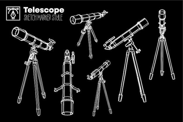 Télescope rétro dessiné à la main. ensemble