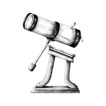 Télescope rétro dessiné à la main
