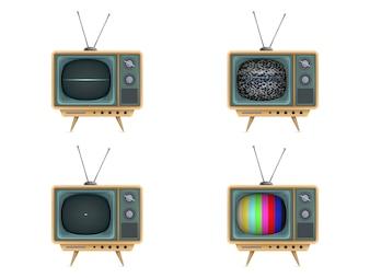 Téléviseur vintage, télévision. Allumer, éteindre, bruit blanc, carte de test, démarrage