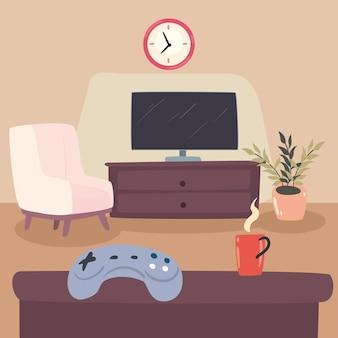 Télévision et canapé