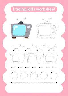 Télévision - feuille de travail pour l'écriture et le dessin de lignes de trace pour les enfants