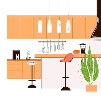 Télévision illustration de l'intérieur de la cuisine moderne vide sans personne chambre chambre avec des meubles de cuisine, table, chaises et table de cuisson.