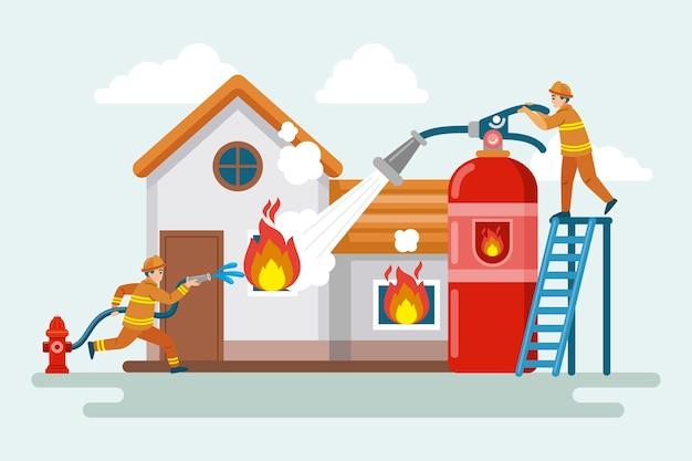 Télévision illustration de la prévention des incendies