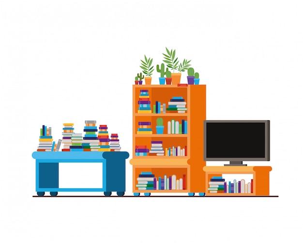 Télévision plasma dans une étagère en bois avec des livres
