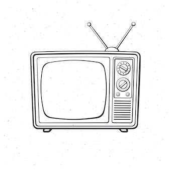 Télévision rétro analogique avec canal d'antenne et sélecteur de signal contour vector illustration