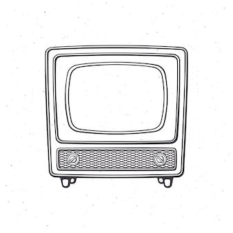 Télévision rétro analogique avec signal de corps en bois et sélecteur de chaîne contour vector illustration
