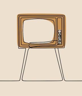 Télévision tv oneline dessin au trait continu