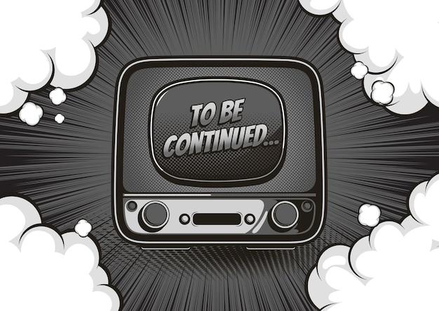 Télévision vintage, monochrome ou en niveaux de gris à suivre, arrière-plan de style bande dessinée, photo d'une télévision rétro.